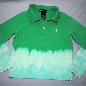 Ralph Lauren Girls Polo Shirt Size 5 Green Tie Dye